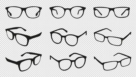 Glasses Icons - Different Angle View - Black Vector Illustration Set - Isolated On Transparent Background 向量圖像