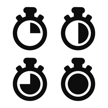 Stopwatch Icons - Black Vector Illustrations - Isolated On White Background