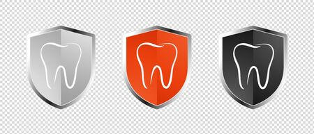 Tooth Healthcare Security Shield Set - Insurance Symbol - Editable Vector Illustration - Isolated On Transparent Background