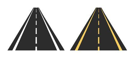 Asphalt Roads - Vector Illustrations - Isolated On White Background