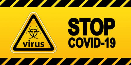 Stop Covid-19  Caution Tape - Vector Illustration - Isolated On Yellow Background 版權商用圖片 - 147786014