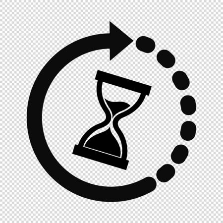 Hourglass Time Icon - Vector Illustration - Isolated On Transparent Background