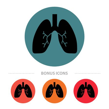 Lung Icons - Different Colored Buttons - Vector Illustrations Isolated On White Background 向量圖像
