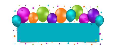 Party Banner With Balloons And Copy Space - Colorful Vector Illustration Isolated On White Background 版權商用圖片 - 146970522