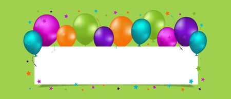 Party Banner With Balloons And Copy Space - Colorful Vector Illustration Isolated On Green Background