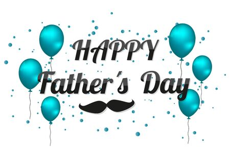 Happy Fathers Day - Vector Illustration With Balloons And Mustache - Isolated On White Background 向量圖像