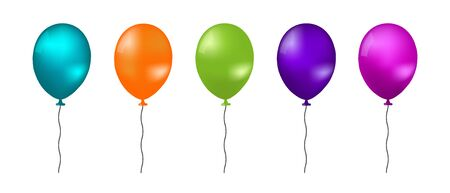 Realistic Flying Balloons - Colorful Vector Illustration - Isolated On White Background 版權商用圖片 - 147428730