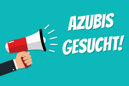 Hand Holding Megaphone - Vector Illustration With German Message Apprentices Wanted - Isolated On Cyan Color Background 版權商用圖片 - 147721827