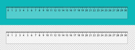 Transparent Ruler - Realistic Ruler Scale - Vector Illustration Isolated On Cyan And Transparent Background