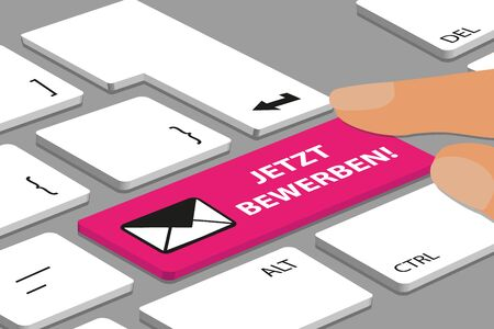 Computer Or Laptop Keyboard With Magenta Color Button And German Message Apply Now - Vector Illustration With Envelope Icon 向量圖像