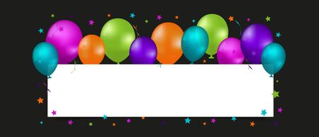 Party Banner With Balloons And Copy Space - Colorful Vector Illustration Isolated On Black Background