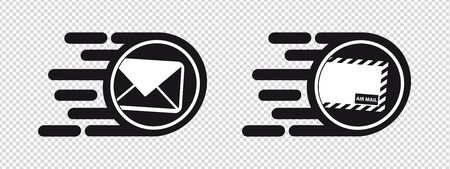 Fast Postal, Email And Airmail Delivery Concept - Speed Flat Icons - Vector Illustrations Isolated On Transparent Background 版權商用圖片 - 147965237