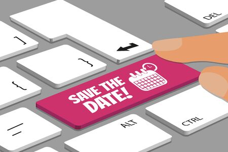 Keyboard With Magenta Color Save The Date Button - Computer Or Laptop With Fingers - Vector Illustration