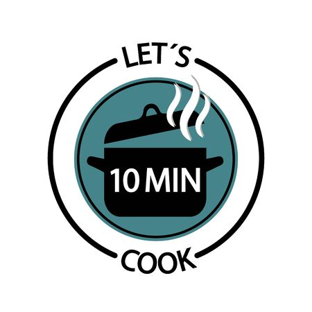 Cooking Time Icon - 10 Minutes Vector Button Food Concept - Restaurant Logo Isolated On White Background