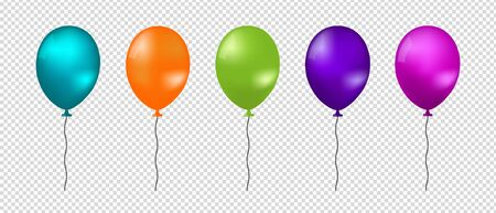 Realistic Flying Balloons - Colorful Vector Illustration - Isolated On Transparent Background