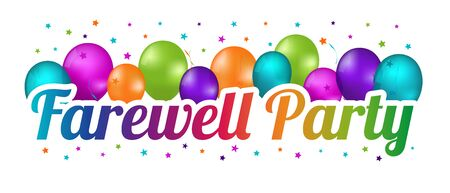 Farewell Party Banner - Colorful Vector Illustration With Balloons And Confetti Stars 向量圖像