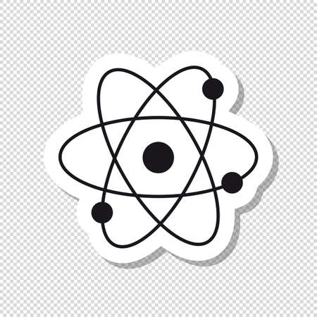 Atom Molecule Icon - Black And White Vector Illustration - Isolated On White And Transparent Background