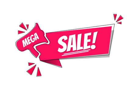 Mega Sale! Label - Modern Magenta Color Vector Illustration -  Isolated On White Background 向量圖像
