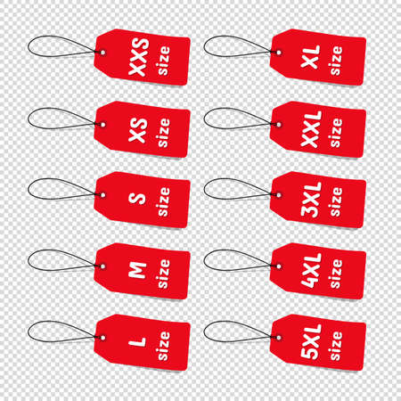 Red Clothing Size Labels - Vector Illustrations - Isolated On Transparent Background 向量圖像