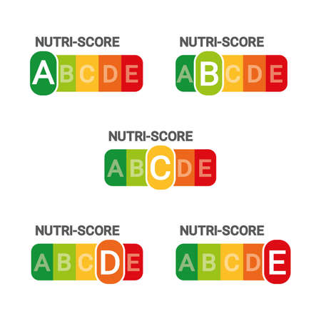 Nutri Score Sticker System - Vector Illustration - Isolated On White Background