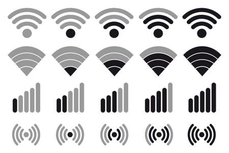 Wifi Wireless Wlan Internet Signal Flat Vector Icons For Apps Or Websites - Isolated On White Background