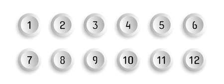 Button Set With Number Bullet Point From 1 To 12 - Vector Illustration - Isolated On White Background 向量圖像