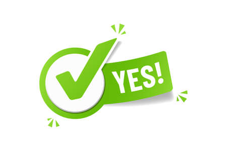 Yes Checkbox Sticker - Green Vector Illustration - Isolated On White Background