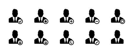 Business Men, Account Icons, Avatar Icons - Vector Illustrations Isolated On White Background 向量圖像