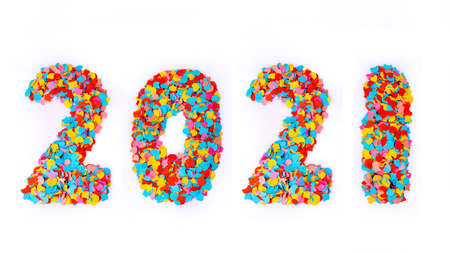 New Year - Confetti Numbers 2021 - Isolated On White Background