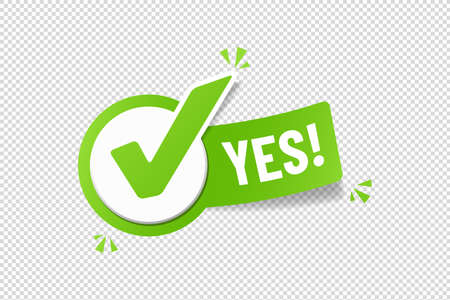 Yes Checkbox Sticker - Green Vector Illustration - Isolated On Transparent Background