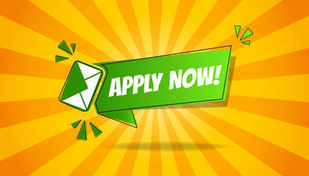 Apply Now Business Concept Background - Green And Yellow Vector Illustration