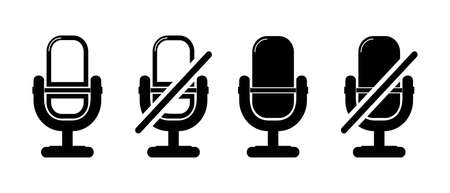 Microphone Muted And Unmuted Signs - Different Vector Illustrations - Isolated On White Background