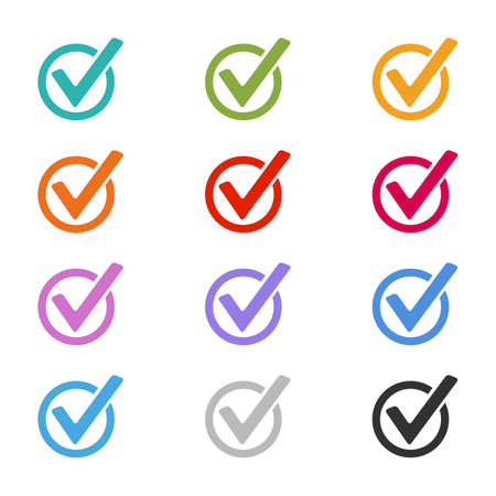 Checkbox Button Set - Colorful Vector Illustrations - Isolated On White Background