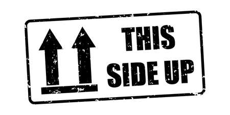 This Side Up Packaging Symbol - Black Vector Rubber Stamp Illustration - Isolated On White Background