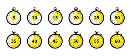 Timer Icons 5 Minutes To 1 Hour - Black And White Vector Illustration Set - Isolated On White Background Illustration