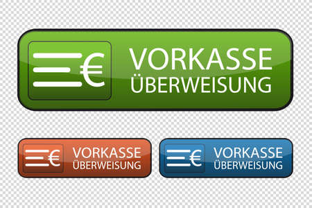 German Web Button Payment In Advance - Vector Illustrations Isolated On Transparent Background