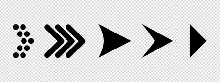 Arrow Set - Different Flat Black Vector Illustrations - Isolated On Transparent Background