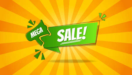 Mega Sale Business Concept Background - Green And Yellow Vector Illustration