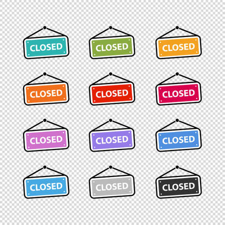 Door Sign Closed - Colorful Business Vector Illustration Set - Isolated On Transparent Background Illustration