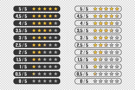 Product Rating Stars Set - Different Vector Illustrations - Isolated On Transparent Background