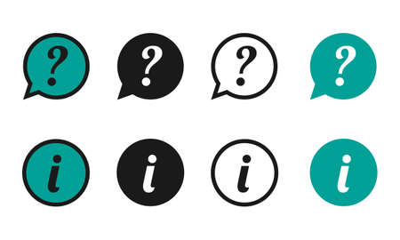 Question And Information Speech Bubbles Icons - Different Vector Illustrations - Isolated On White Background Illustration