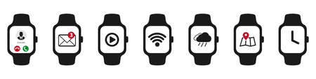 Smart Watch Icon Set - Different Vector Illustrations - Isolated On White Background Illustration