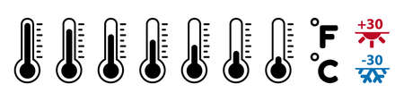 Thermometer Temperature Icon Set - Vector Illustrations - Isolated On White Background