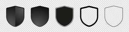 Different Empty Security Shields - Vector Illustration Set - Isolated On Transparent Background Illustration