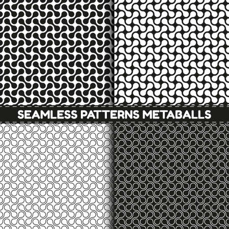 Seamless Pattern Background Metaballs - Vector Illustrations Set - Isolated On Black And White Background