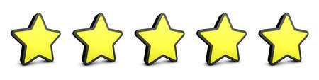 Yellow Stars, Feedback, Product Rating Icons - Realistic 3D Illustration - Isolated On White Background