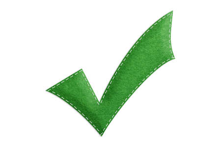 Stitched Checkbox Symbol Icon - Realistic Green Felt 3D Illustration - Isolated On White Background Banque d'images
