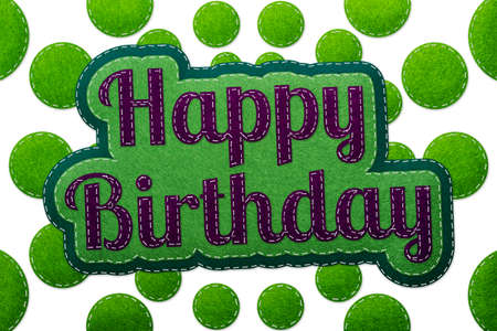 Stitched Happy Birthday Concept - Realistic Green And Purple Felt 3D Illustration - Isolated On White Background