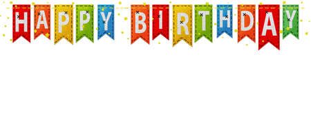 Stitched Happy Birthday flags isolated on white Banque d'images