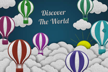 Discover The World Travel And Adventure Concept - Realistic Colorful Stitched Felt Illustration With Clouds And Hot Air Balloons